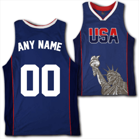 Image of Custom Blue USA Basketball Jersey - Greater Half