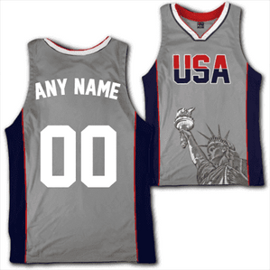 6ceee2f8731 Custom Grey USA Basketball Jersey - Greater Half ...