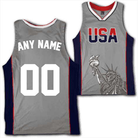 Image of Custom Grey USA Basketball Jersey Shirt Greater Half