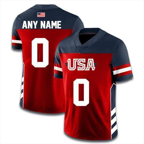 Custom USA Football Jersey (Navy)-Greater Half