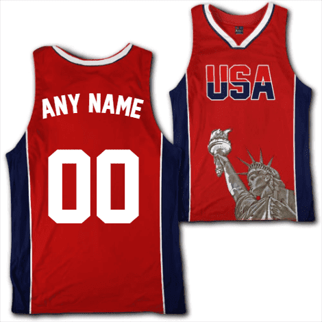 Custom Red USA Basketball Jersey - Greater Half