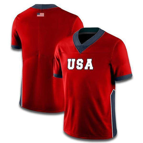 Custom USA Football Jersey (Red)