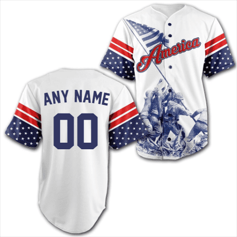 Image of Custom Team America Baseball Jersey-Greater Half