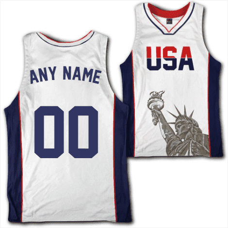 Custom White USA Basketball Jersey - Greater Half