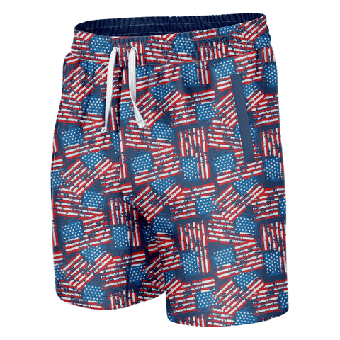 Image of Distressed American Flag Swim Trunks
