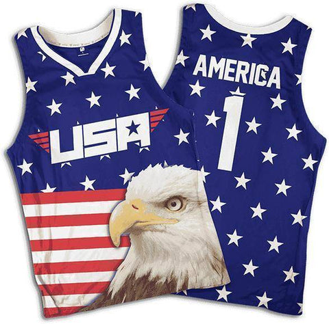 Image of Eagle America #1 Basketball Jersey-Greater Half