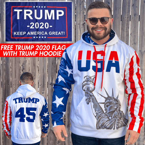 Image of Trump #45 Hoodie w/ Free Trump 2020 Flag!