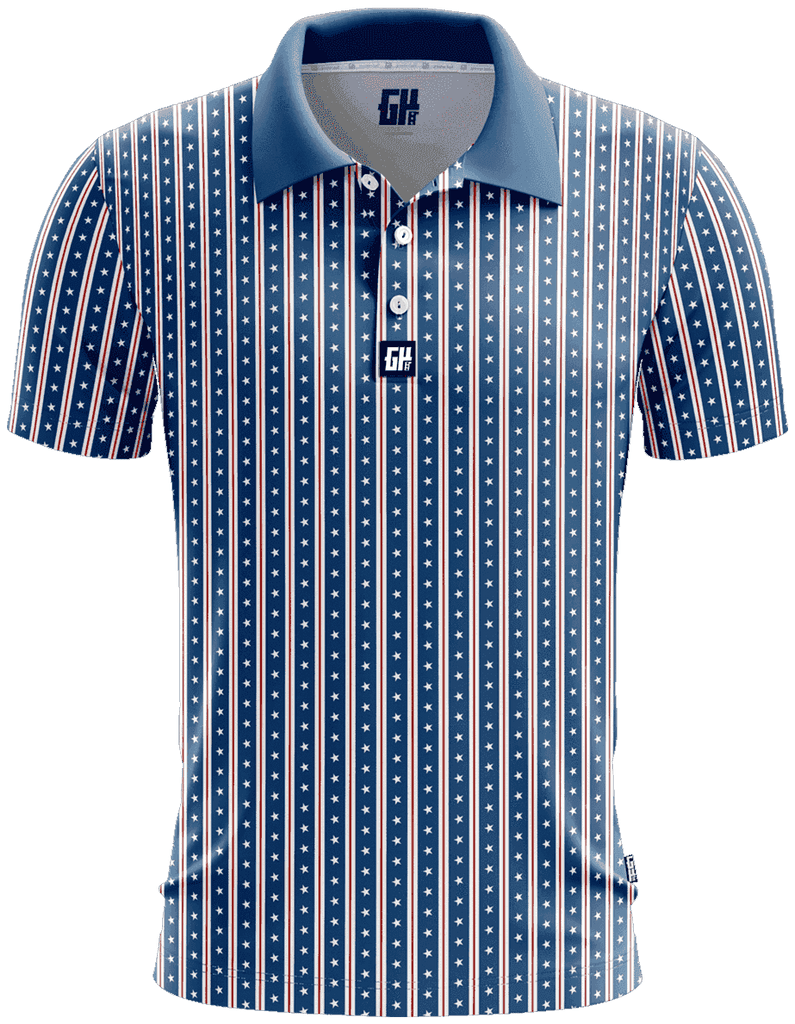 America Stars and Straps Golf Polo - Greater Half
