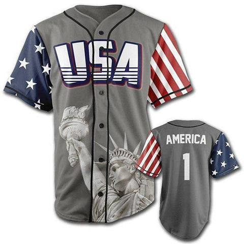 Image of Grey America #1 Baseball Jersey-Greater Half