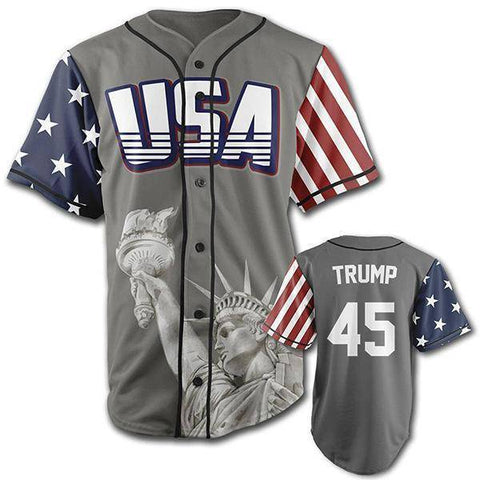Image of Grey Trump #45 Baseball Jersey-Greater Half