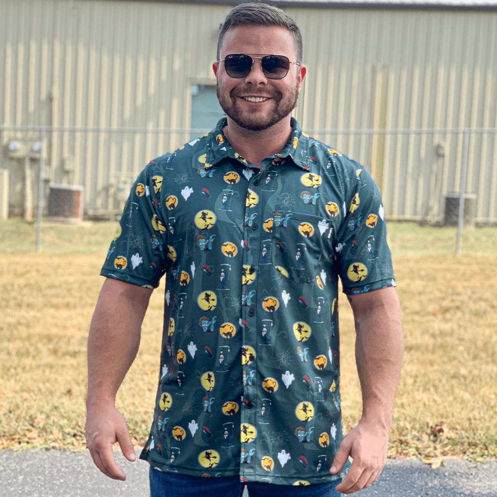 Halloween Green Button Down