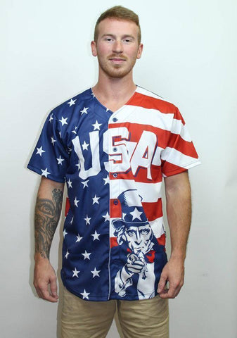 American Flag Baseball Jersey - Greater Half