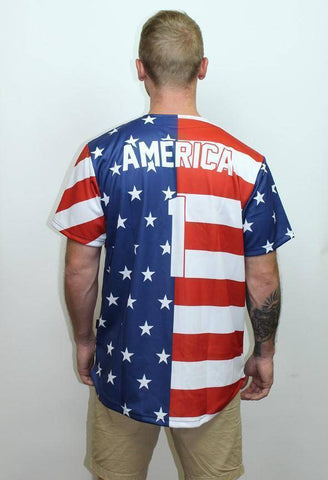 Image of American Flag Baseball Jersey - Greater Half