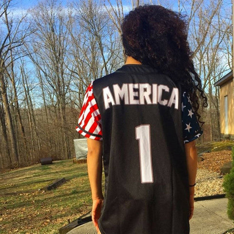 Image of Black America #1 Baseball Jersey