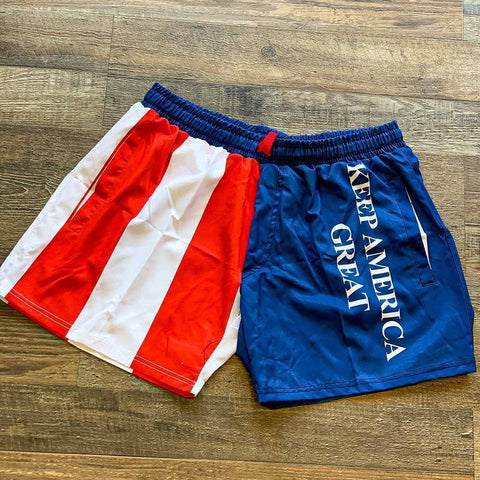 Keep America Great American Flag Swim Trunks