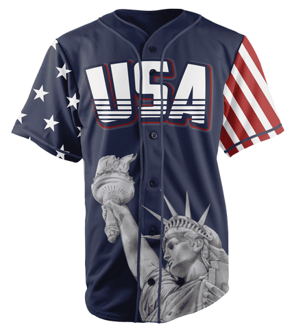 Image of Blue America #1 Baseball Jersey - Greater Half