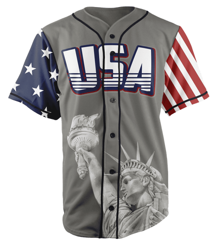 Image of Grey America #1 Baseball Jersey Shirt Greater Half