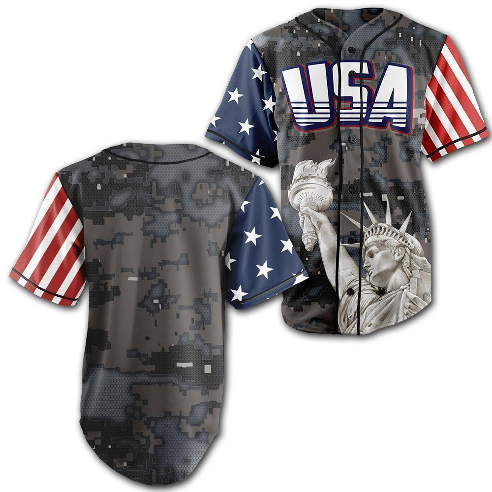 Custom Steel Camo America Baseball Jersey - Greater Half