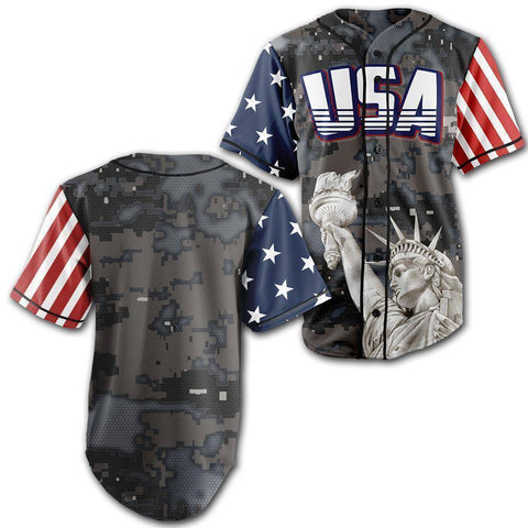 Image of Custom Steel Camo America Baseball Jersey - Greater Half
