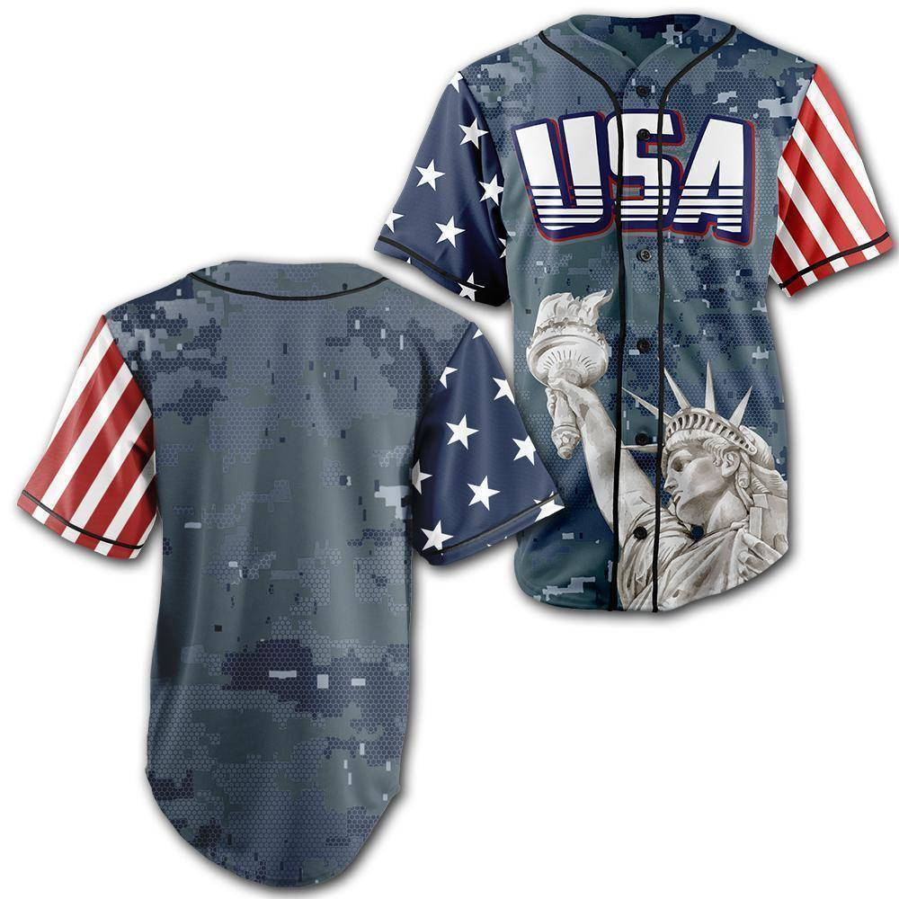 Custom Blue Camo America Baseball Jersey - Greater Half