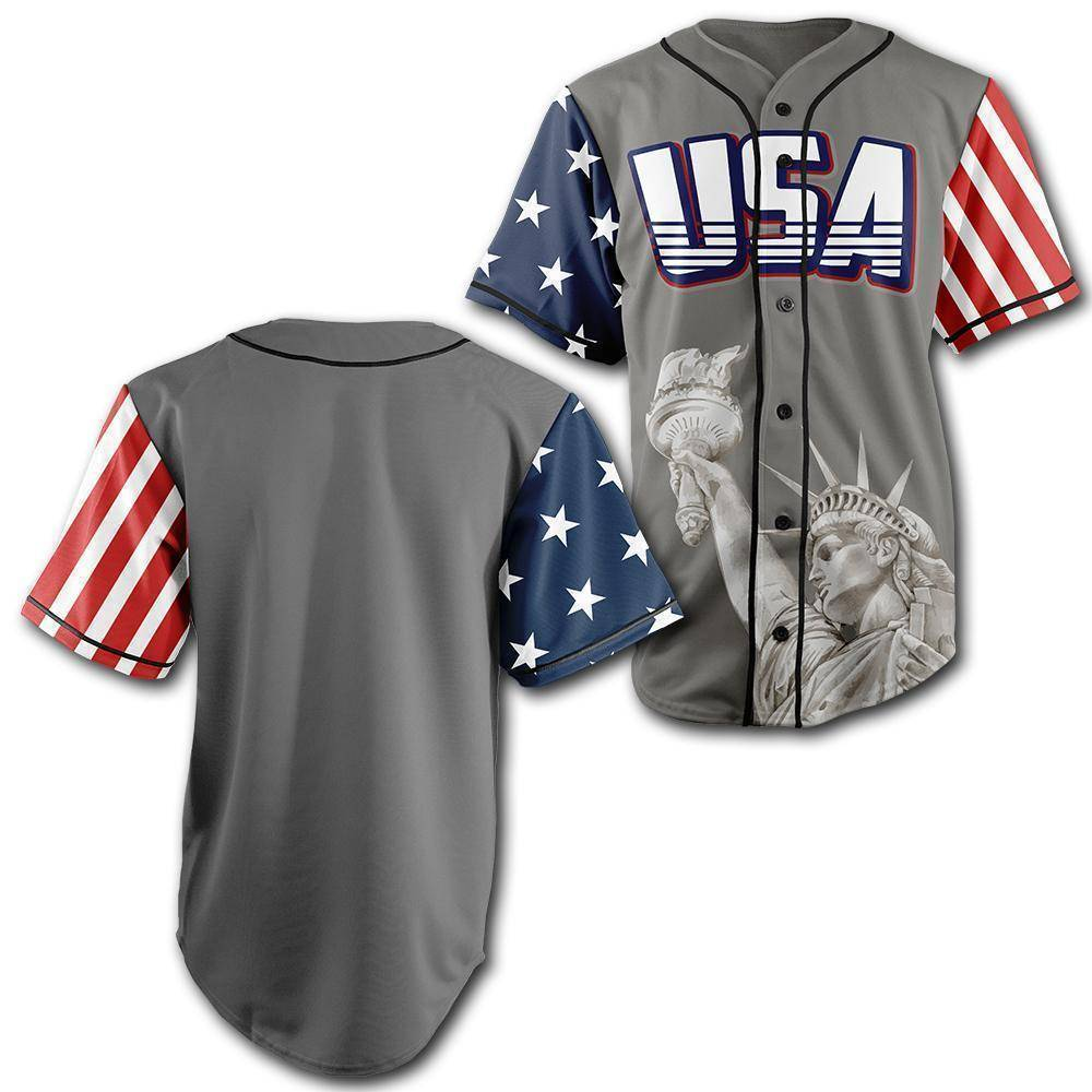 Custom Grey America Baseball Jersey - Greater Half