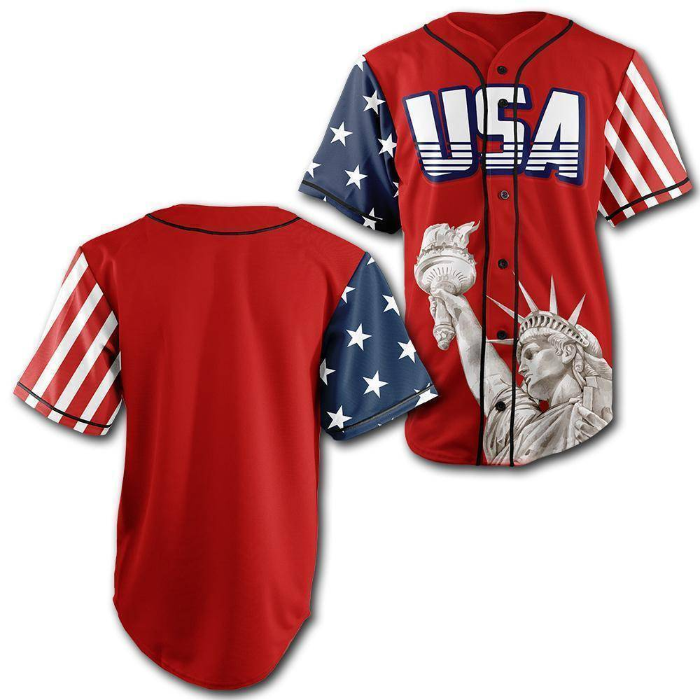 Custom Red USA Baseball Jersey - Greater Half