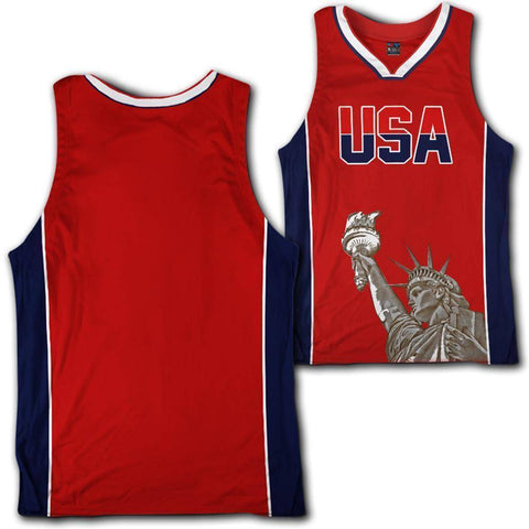Image of Custom Red USA Basketball Jersey - Greater Half