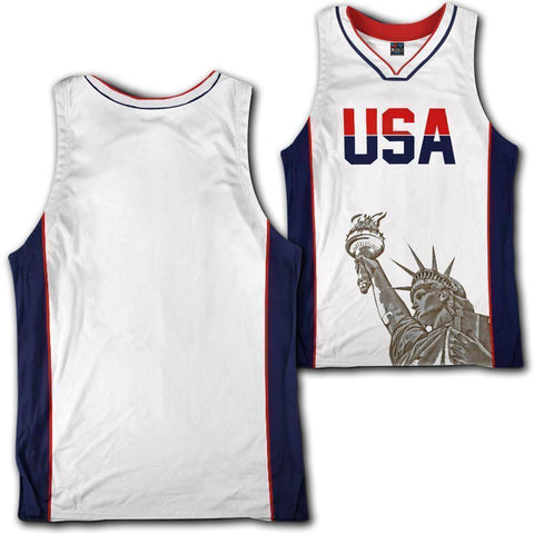 Image of Custom White USA Basketball Jersey - Greater Half