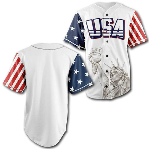 Image of Custom White USA Baseball Jersey - Greater Half