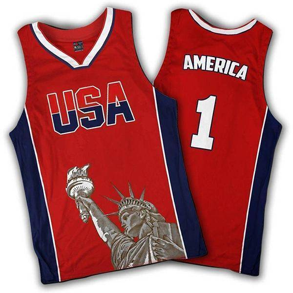 Limited Edition Red America #1 Basketball Jersey-Greater Half