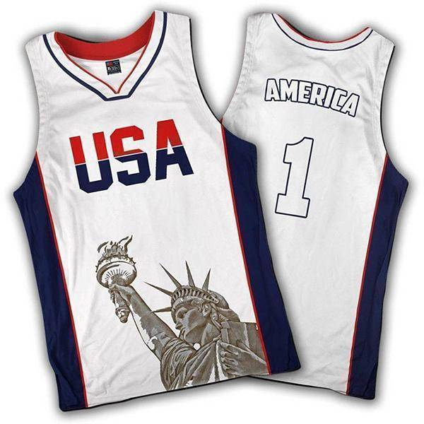 Limited Edition White America #1 Basketball Jersey-Greater Half