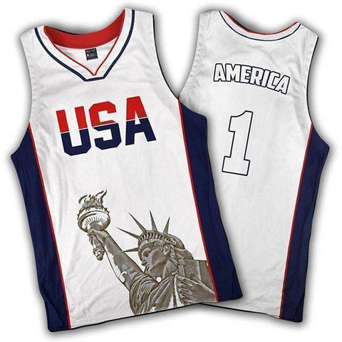Image of Limited Edition White America #1 Basketball Jersey-Greater Half