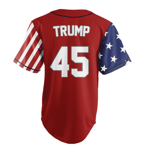 Image of Red Trump #45 Baseball Jersey Shirt Greater Half