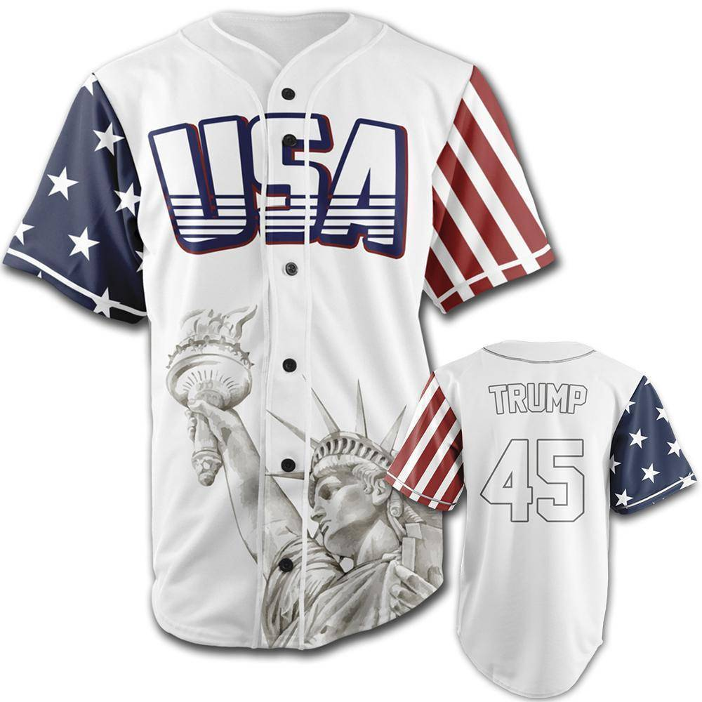 White Trump #45 Baseball Jersey Shirt Greater Half XXL