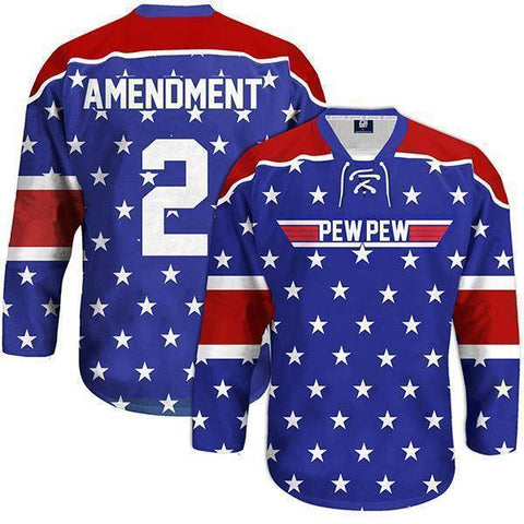 Image of Pew Pew Hockey Jersey-Greater Half