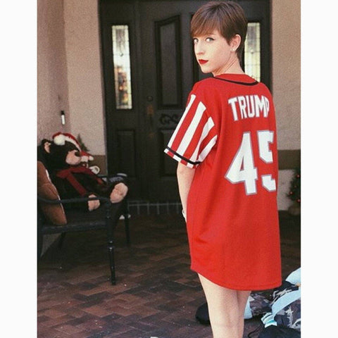 Red Trump #45 Baseball Jersey Shirt Greater Half