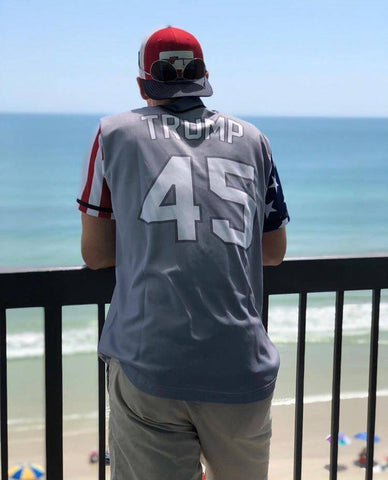 Image of Grey Trump #45 Baseball Jersey Shirt Greater Half