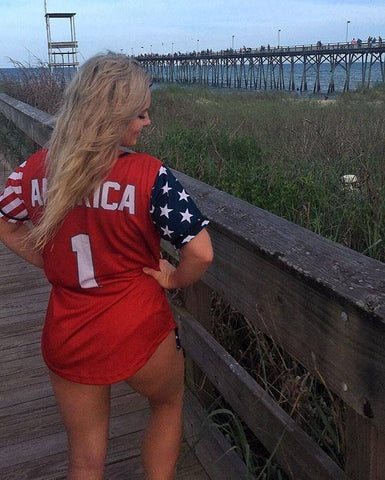 Red America #1 Baseball Jersey Shirt Greater Half