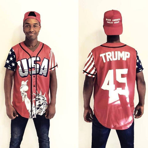 Image of Red Trump #45 Baseball Jersey Shirt Greater Half XXL