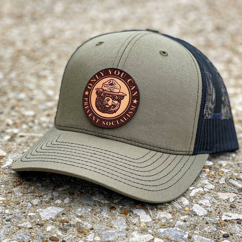 Only You Can Prevent Socialism Leather Patch Hat