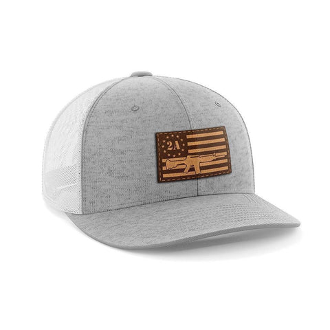 Image of 2nd Amendment AR15 Leather Patch Hat