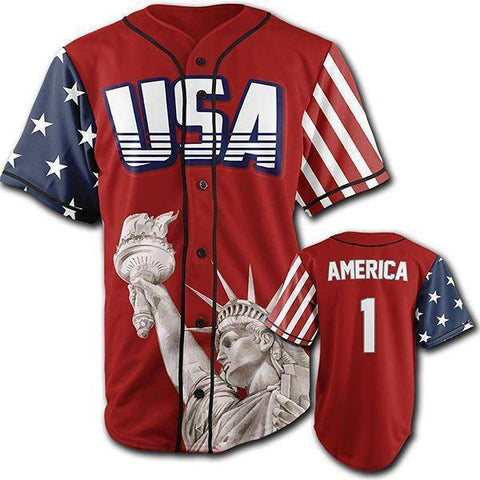 Red America #1 Baseball Jersey-Greater Half