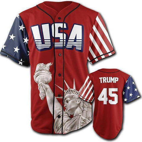 Image of Red Trump #45 Baseball Jersey