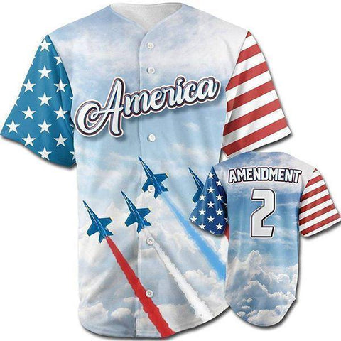 Image of Team America 2nd Amendment Baseball Jersey v2-Greater Half