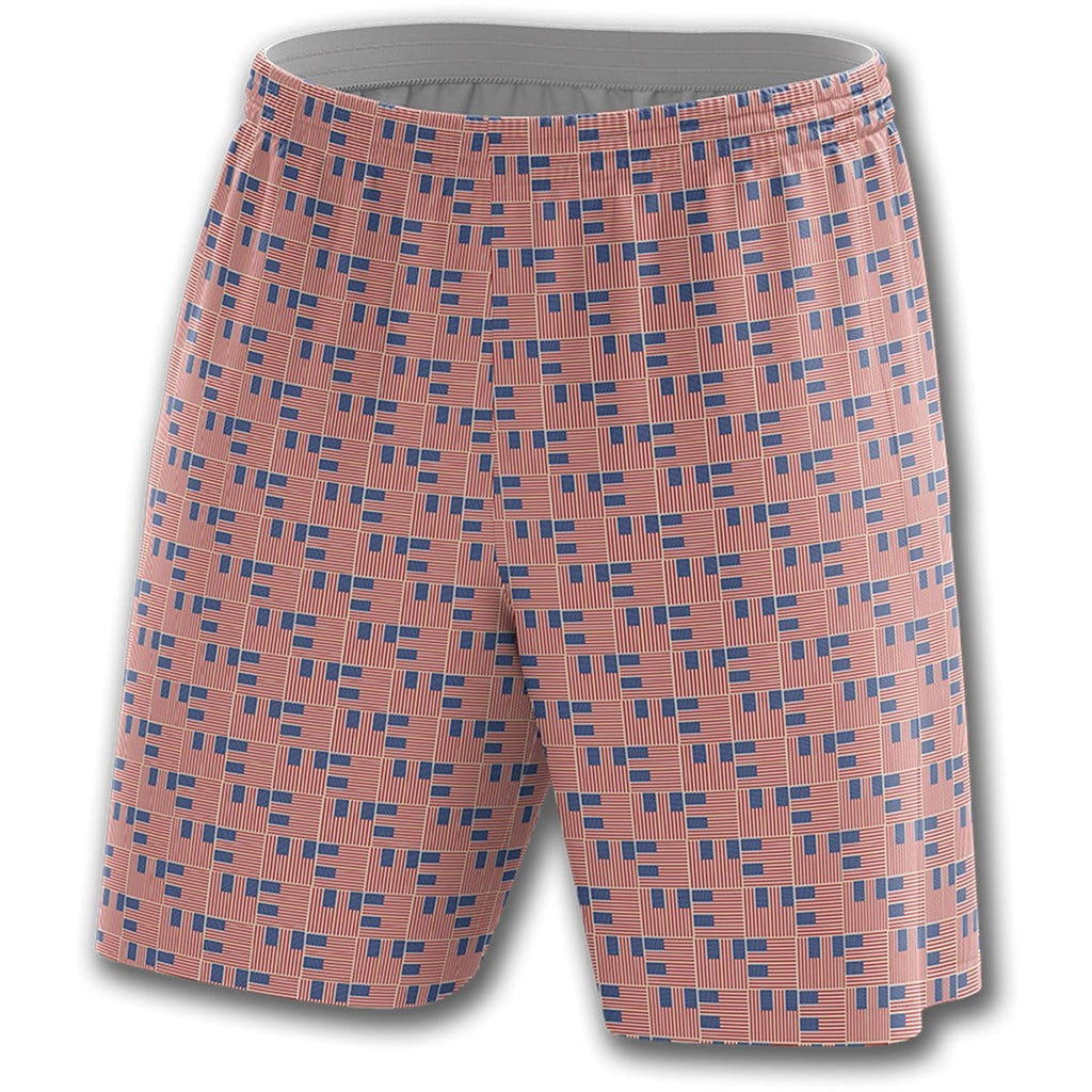 Woven Flag Pattern Athletic Shorts