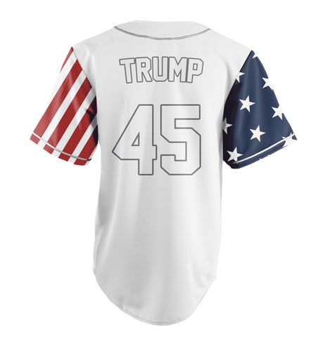 Image of White Trump #45 Baseball Jersey Shirt Greater Half