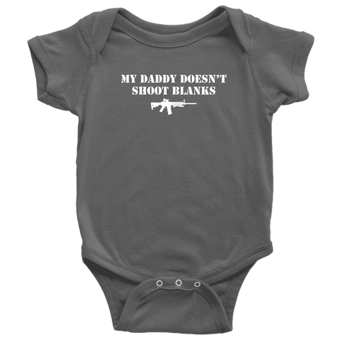 Image of My Daddy Doesn't Shoot Blanks T-shirt teelaunch Baby Bodysuit Asphalt NB