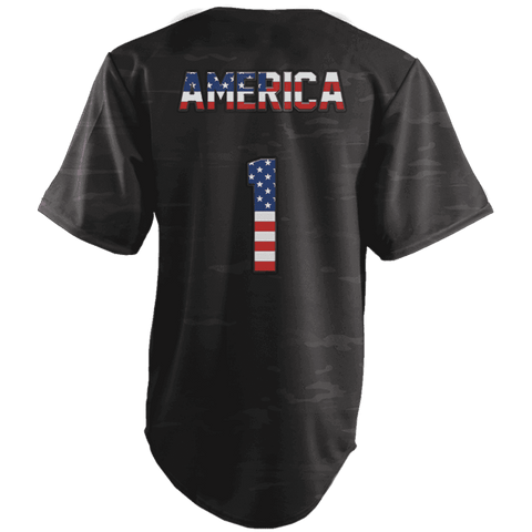 Image of America #1 Black Camo Baseball Jersey