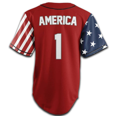 Image of Red America #1 Baseball Jersey Shirt Greater Half
