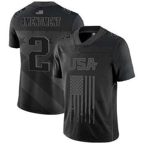 Image of USA 2nd Amendment Football Jersey Blackout Edition